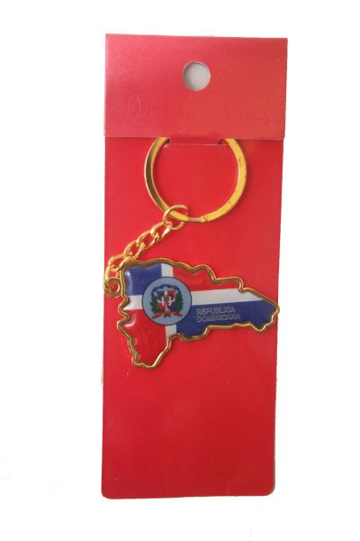 DOMINICAN REPUBLIC COUNTRY SHAPE FLAG METAL KEYCHAIN .. NEW AND IN A PACKAGE