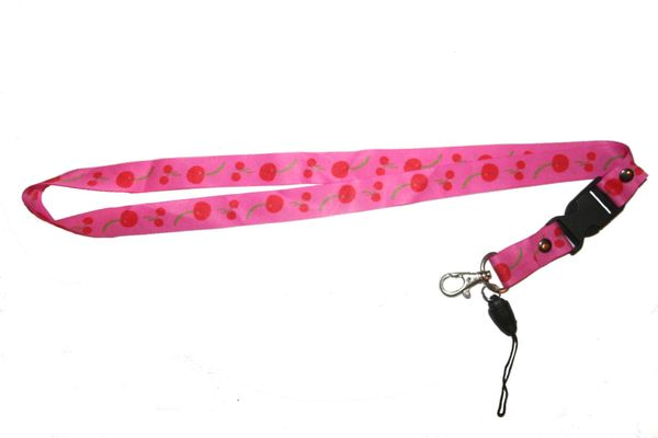 "CHERRY PINK LANYARD KEYCHAIN PASSHOLDER NECKSTRAP .. CLASP AT THE END .. 20"" INCHES LONG .. HIGH QUALITY .. NEW"