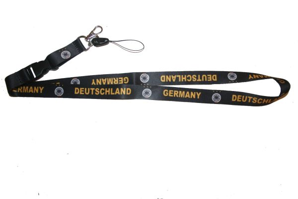 "DEUTSCHLAND GERMANY BLACK BACKGROUND DEUTSCHER FUSSBALL - BUND LOGO FIFA SOCCER WORLD CUP LANYARD KEYCHAIN PASSHOLDER NECKSTRAP .. CLASP AT THE END .. 20"" INCHES LONG .. HIGH QUALITY .. NEW"