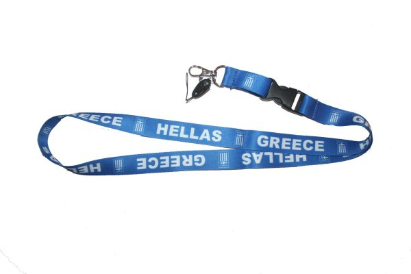 "GREECE HELLAS BLUE BACKGROUND COUNTRY FLAG LANYARD KEYCHAIN PASSHOLDER NECKSTRAP .. CLASP AT THE END .. 20"" INCHES LONG .. HIGH QUALITY .. NEW"