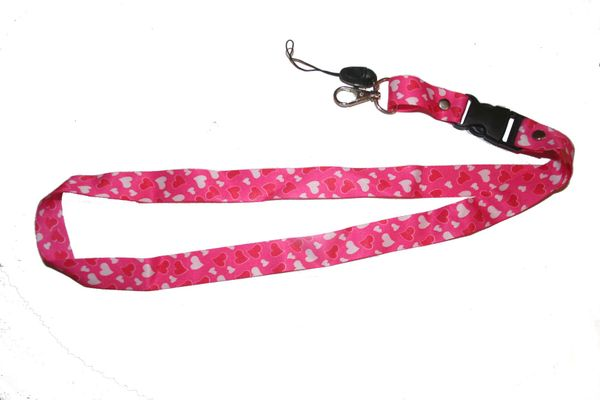 "HEARTS PINK BACKGROUND LANYARD KEYCHAIN PASSHOLDER NECKSTRAP .. CLASP AT THE END .. 20"" INCHES LONG .. HIGH QUALITY .. NEW"