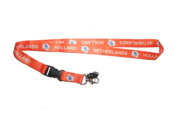 "NETHERLANDS HOLLAND ORANGE BACKGROUND KNVB LOGO FIFA SOCCER WORLD CUP LANYARD KEYCHAIN PASSHOLDER NECKSTRAP .. CLASP AT THE END .. 20"" INCHES LONG .. HIGH QUALITY .. NEW"