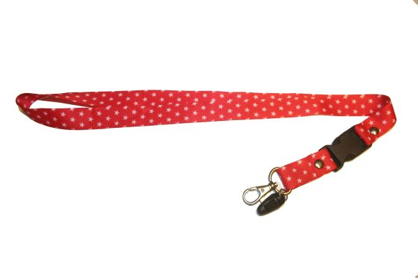 "WHITE STARS RED BACKGROUND LANYARD KEYCHAIN PASSHOLDER NECKSTRAP .. CLASP AT THE END .. 20"" INCHES LONG .. HIGH QUALITY .. NEW"
