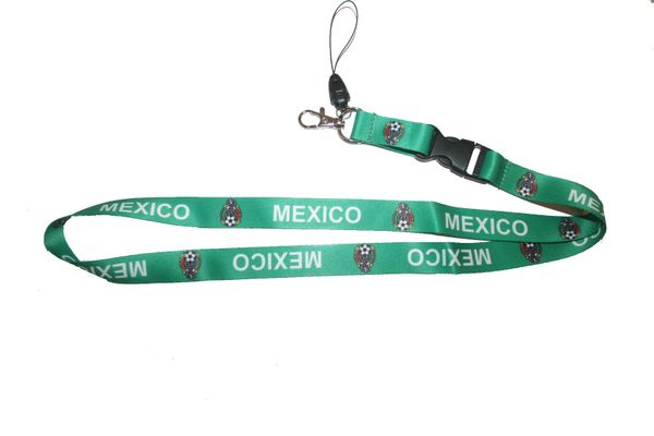 "MEXICO GREEN BACKGROUND FIFA SOCCER WORLD CUP LANYARD KEYCHAIN PASSHOLDER NECKSTRAP .. CLASP AT THE END .. 20"" INCHES LONG .. HIGH QUALITY .. NEW"