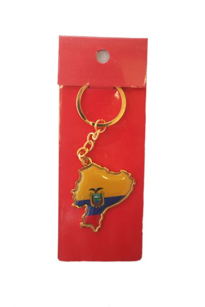 ECUADOR COUNTRY SHAPE FLAG METAL KEYCHAIN .. NEW AND IN A PACKAGE