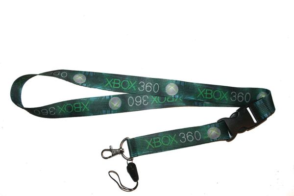 "XBOX 360 GREEN BACKGROUND LANYARD KEYCHAIN PASSHOLDER NECKSTRAP .. CLASP AT THE END .. 20"" INCHES LONG .. HIGH QUALITY .. NEW"