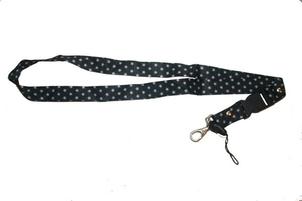 """WHITE STARS BLACK BACKGROUND LANYARD KEYCHAIN PASSHOLDER NECKSTRAP .. CLASP AT THE END .. 20"""" INCHES LONG .. HIGH QUALITY .. NEW"""