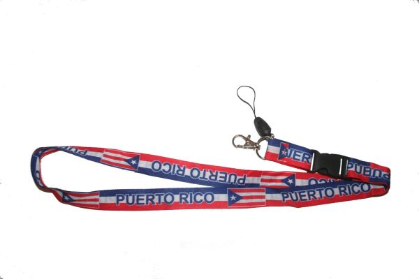 "PUERTO RICO COUNTRY FLAG LANYARD KEYCHAIN PASSHOLDER NECKSTRAP .. CLASP AT THE END .. 20"" INCHES LONG .. HIGH QUALITY .. NEW"