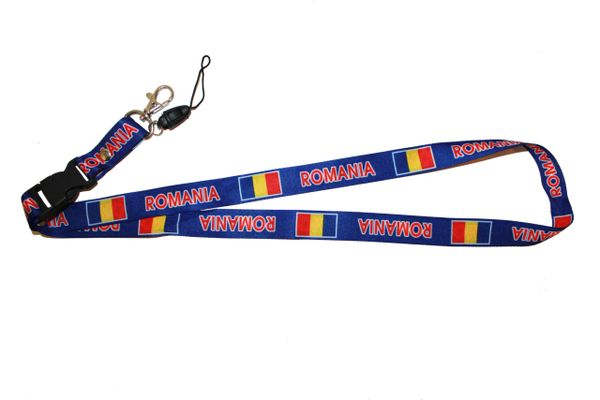 "ROMANIA BLUE BACKGOUND COUNTRY FLAG LANYARD KEYCHAIN PASSHOLDER NECKSTRAP .. CLASP AT THE END .. 20"" INCHES LONG .. HIGH QUALITY .. NEW"