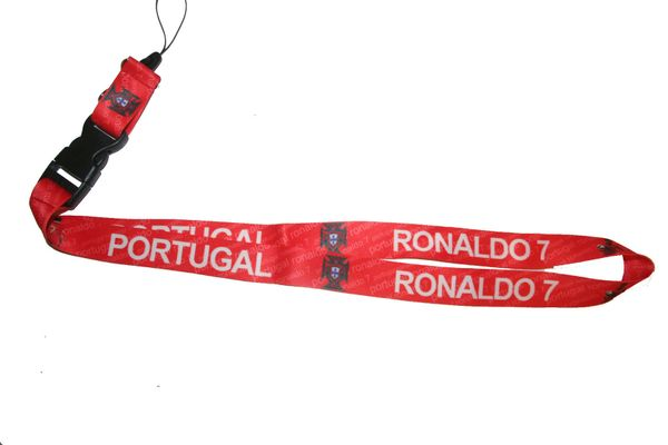 "PORTUGAL RONALDO 7 RED BACKGOUND FPF LOGO FIFA SOCCER WORLD CUP LANYARD KEYCHAIN PASSHOLDER NECKSTRAP .. CLASP AT THE END .. 20"" INCHES LONG .. HIGH QUALITY .. NEW"