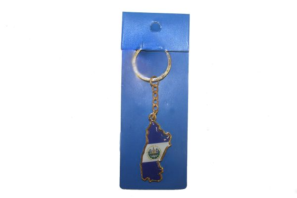 EL SALVADOR COUNTRY SHAPE FLAG METAL KEYCHAIN .. NEW AND IN A PACKAGE