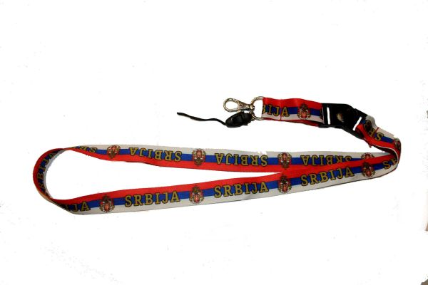 "SRBIJA SERBIA COUNTRY FLAG LANYARD KEYCHAIN PASSHOLDER NECKSTRAP .. CLASP AT THE END .. 20"" INCHES LONG .. HIGH QUALITY .. NEW"
