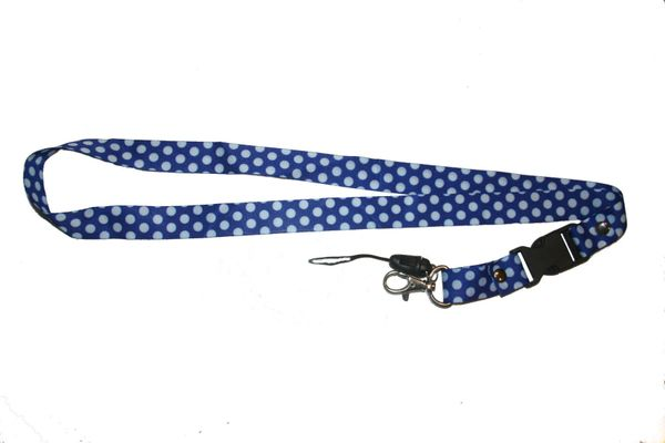 "WHITE CIRCLES BLUE BACKGROUND LANYARD KEYCHAIN PASSHOLDER NECKSTRAP .. CLASP AT THE END .. 20"" INCHES LONG .. HIGH QUALITY .. NEW"