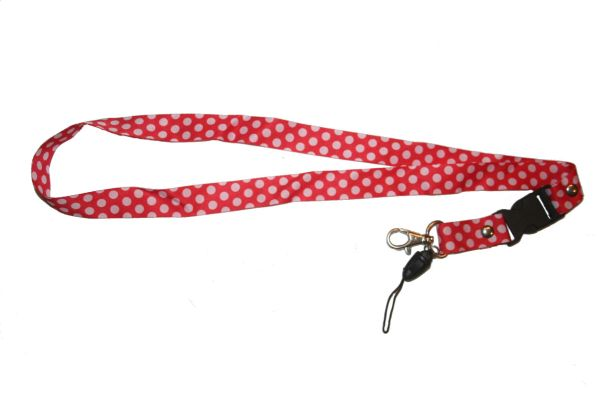 """WHITE CIRCLES RED BACKGROUND LANYARD KEYCHAIN PASSHOLDER NECKSTRAP .. CLASP AT THE END .. 20"""" INCHES LONG .. HIGH QUALITY .. NEW"""