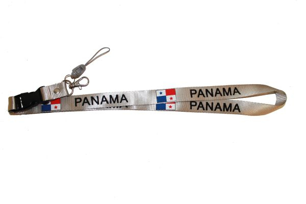 """PANAMA WHITE BACKGROUND COUNTRY FLAG LANYARD KEYCHAIN PASSHOLDER NECKSTRAP .. CLASP AT THE END .. 20"""" INCHES LONG .. HIGH QUALITY .. NEW"""