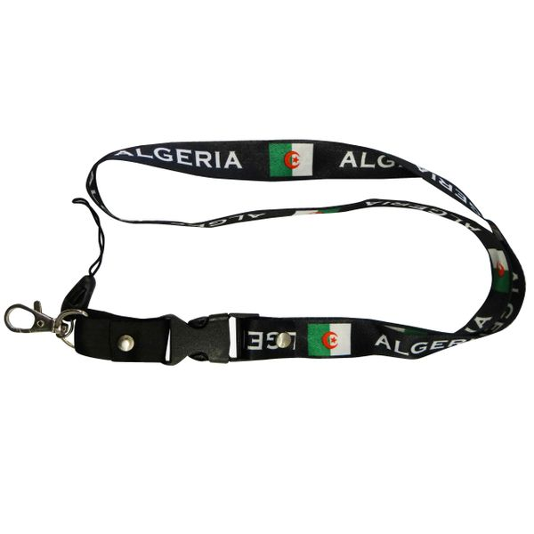 "ALGERIA BLACK BACKGROUND COUNTRY FLAG LANYARD KEYCHAIN PASSHOLDER NECKSTRAP .. CLASP AT THE END .. 20"" INCHES LONG .. HIGH QUALITY .. NEW"