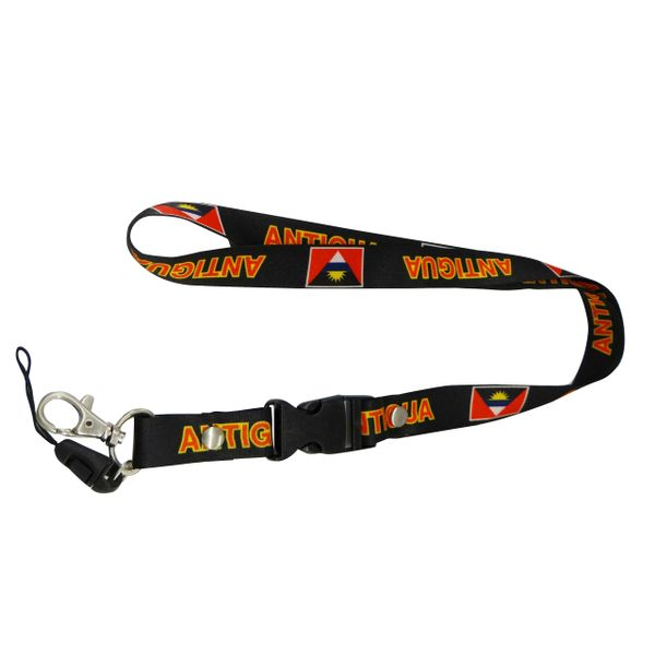 "ANTIGUA BLACK BACKGROUND COUNTRY FLAG LANYARD KEYCHAIN PASSHOLDER NECKSTRAP .. CLASP AT THE END .. 20"" INCHES LONG .. HIGH QUALITY .. NEW"