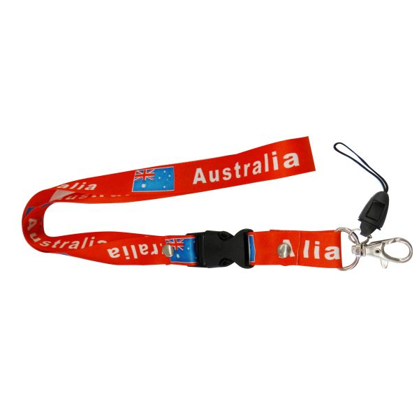 "AUSTRALIA RED BACKGROUND COUNTRY FLAG LANYARD KEYCHAIN PASSHOLDER NECKSTRAP .. CLASP AT THE END .. 24"" INCHES LONG .. HIGH QUALITY .. NEW"