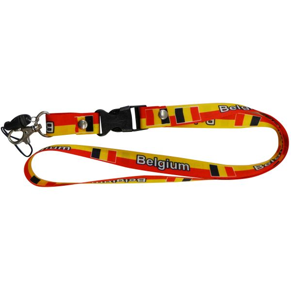 "BELGIUM COUNTRY FLAG LANYARD KEYCHAIN PASSHOLDER NECKSTRAP .. CLASP AT THE END .. 20"" INCHES LONG .. HIGH QUALITY .. NEW"