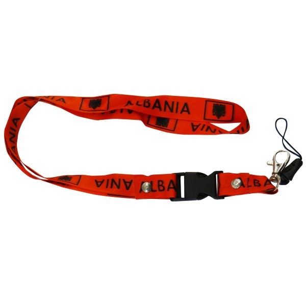 "ALBANIA COUNTRY FLAG LANYARD KEYCHAIN PASSHOLDER NECKSTRAP .. CLASP AT THE END .. 20"" INCHES LONG .. HIGH QUALITY .. NEW"