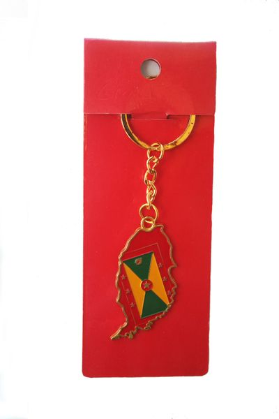GRENADA COUNTRY SHAPE FLAG METAL KEYCHAIN .. NEW AND IN A PACKAGE