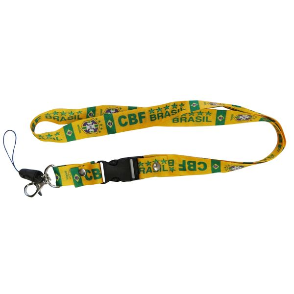 "BRASIL 5 STARS CBF LOGO FIFA SOCCER WORLD CUP LANYARD KEYCHAIN PASSHOLDER NECKSTRAP .. CLASP AT THE END .. 20"" INCHES LONG .. HIGH QUALITY .. NEW"