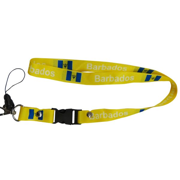"BARBADOS YELLOW BACKGROUND COUNTRY FLAG LANYARD KEYCHAIN PASSHOLDER NECKSTRAP .. CLASP AT THE END .. 20"" INCHES LONG .. HIGH QUALITY .. NEW"