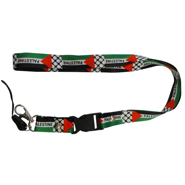 "PALESTINE COUNTRY FLAG LANYARD KEYCHAIN PASSHOLDER NECKSTRAP .. CLASP AT THE END .. 20"" INCHES LONG .. HIGH QUALITY .. NEW"