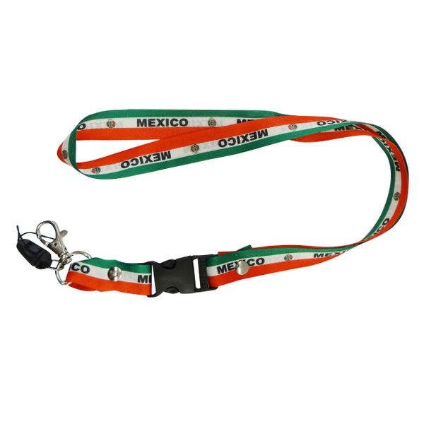 "MEXICO COUNTRY FLAG LANYARD KEYCHAIN PASSHOLDER NECKSTRAP .. CLASP AT THE END .. 20"" INCHES LONG .. HIGH QUALITY .. NEW"