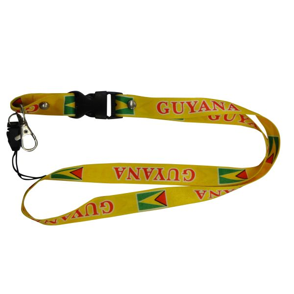 "GUYANA COUNTRY FLAG LANYARD KEYCHAIN PASSHOLDER NECKSTRAP .. CLASP AT THE END .. 20"" INCHES LONG .. HIGH QUALITY .. NEW"