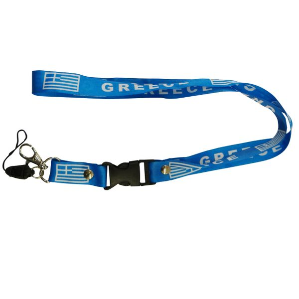 "GREECE HELLAS COUNTRY FLAG LANYARD KEYCHAIN PASSHOLDER NECKSTRAP .. CLASP AT THE END .. 20"" INCHES LONG .. HIGH QUALITY .. NEW"