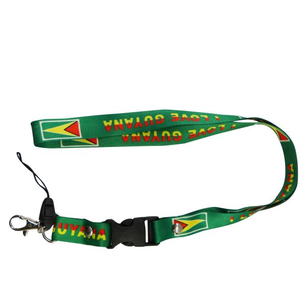 "GUYANA GREEN BACKGROUND COUNTRY FLAG LANYARD KEYCHAIN PASSHOLDER NECKSTRAP .. CLASP AT THE END .. 20"" INCHES LONG .. HIGH QUALITY .. NEW"