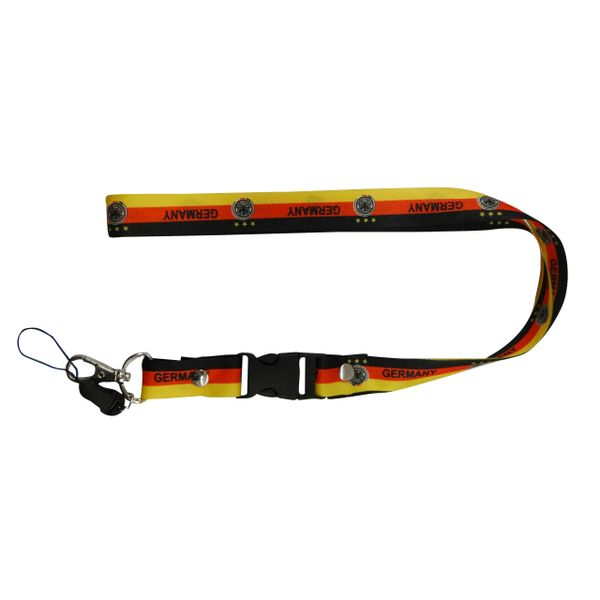 "GERMANY COUNTRY FLAG LANYARD KEYCHAIN PASSHOLDER NECKSTRAP .. CLASP AT THE END .. 20"" INCHES LONG .. HIGH QUALITY .. NEW"