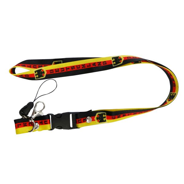 "DEUTSCHLAND GERMANY WITH EAGLE COUNTRY FLAG LANYARD KEYCHAIN PASSHOLDER NECKSTRAP .. CLASP AT THE END .. 20"" INCHES LONG .. HIGH QUALITY .. NEW"