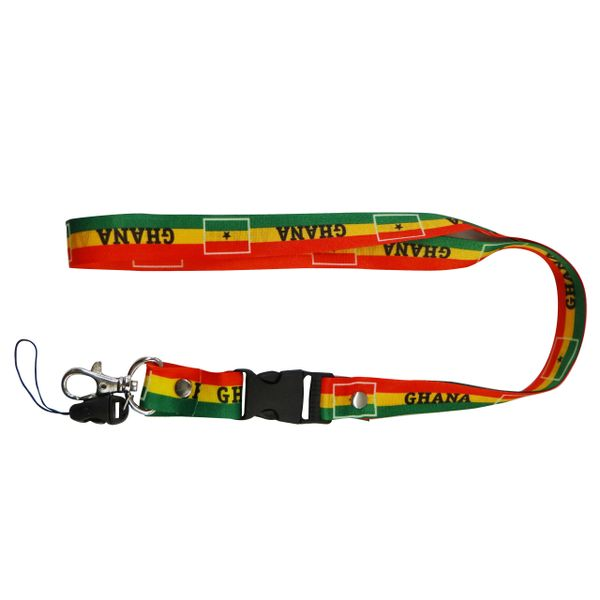 """GHANA COUNTRY FLAG LANYARD KEYCHAIN PASSHOLDER NECKSTRAP .. CLASP AT THE END .. 20"""" INCHES LONG .. HIGH QUALITY .. NEW"""