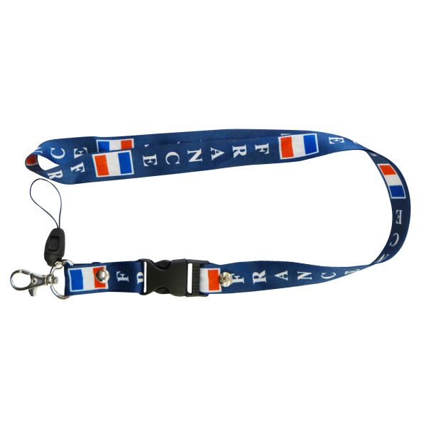 "FRANCE COUNTRY FLAG LANYARD KEYCHAIN PASSHOLDER NECKSTRAP .. CLASP AT THE END .. 20"" INCHES LONG .. HIGH QUALITY .. NEW"