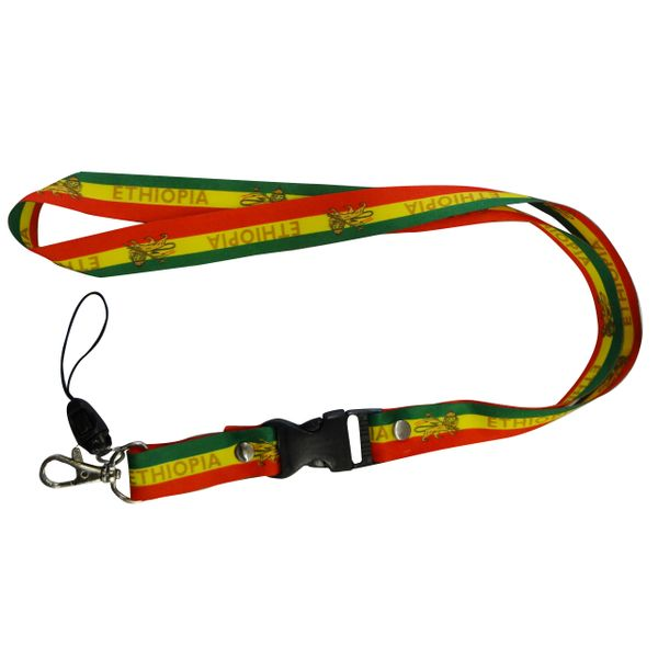 "ETHIOPIA WITH LION COUNTRY FLAG LANYARD KEYCHAIN PASSHOLDER NECKSTRAP .. CLASP AT THE END .. 20"" INCHES LONG .. HIGH QUALITY .. NEW"