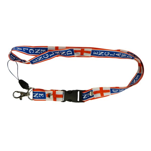"""ENGLAND COUNTRY FLAG LANYARD KEYCHAIN PASSHOLDER NECKSTRAP .. CLASP AT THE END .. 20"""" INCHES LONG .. HIGH QUALITY .. NEW"""