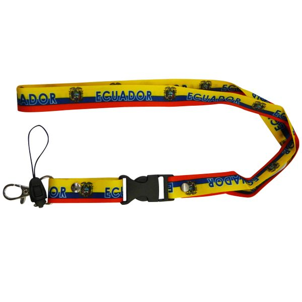 """ECUADOR COUNTRY FLAG LANYARD KEYCHAIN PASSHOLDER NECKSTRAP .. CLASP AT THE END .. 20"""" INCHES LONG .. HIGH QUALITY .. NEW"""
