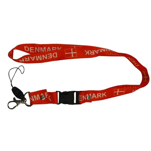 "DENMARK COUNTRY FLAG LANYARD KEYCHAIN PASSHOLDER NECKSTRAP .. CLASP AT THE END .. 20"" INCHES LONG .. HIGH QUALITY .. NEW"