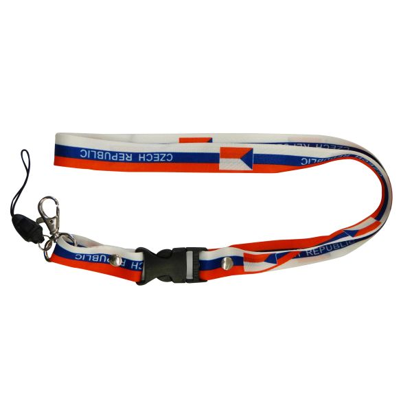 "CZECH REPUBLIC COUNTRY FLAG LANYARD KEYCHAIN PASSHOLDER NECKSTRAP .. CLASP AT THE END .. 20"" INCHES LONG .. HIGH QUALITY .. NEW"