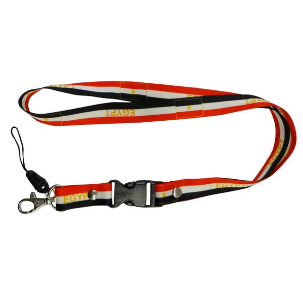 "EGYPT COUNTRY FLAG LANYARD KEYCHAIN PASSHOLDER NECKSTRAP .. CLASP AT THE END .. 20"" INCHES LONG .. HIGH QUALITY .. NEW"