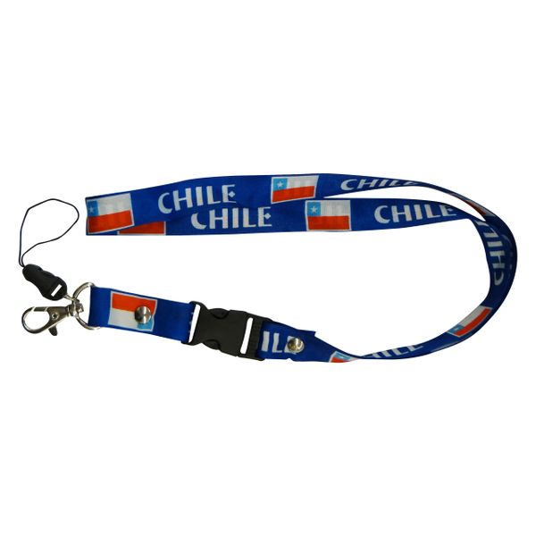 "CHILE COUNTRY FLAG LANYARD KEYCHAIN PASSHOLDER NECKSTRAP .. CLASP AT THE END .. 20"" INCHES LONG .. HIGH QUALITY .. NEW"