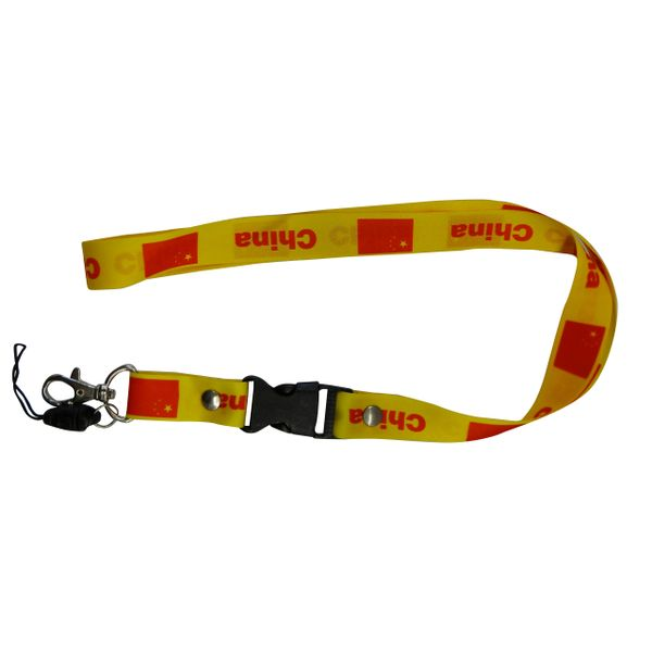 "CHINA COUNTRY FLAG LANYARD KEYCHAIN PASSHOLDER NECKSTRAP .. CLASP AT THE END .. 20"" INCHES LONG .. HIGH QUALITY .. NEW"