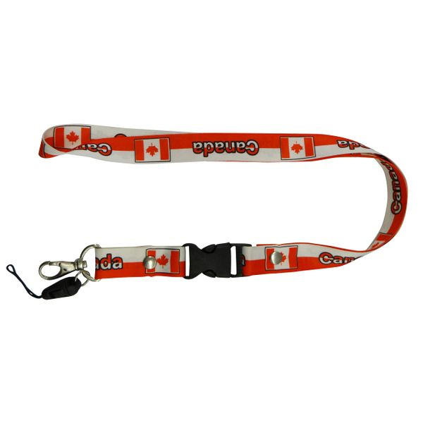 """CANADA COUNTRY FLAG LANYARD KEYCHAIN PASSHOLDER NECKSTRAP .. CLASP AT THE END .. 20"""" INCHES LONG .. HIGH QUALITY .. NEW"""