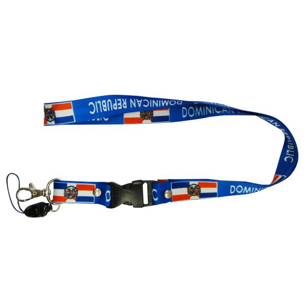 "DOMINICAN REPUBLIC COUNTRY FLAG LANYARD KEYCHAIN PASSHOLDER NECKSTRAP .. CLASP AT THE END .. 20"" INCHES LONG .. HIGH QUALITY .. NEW"