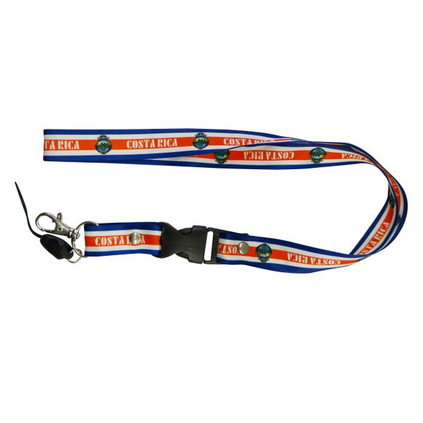 """COSTA RICA COUNTRY FLAG LANYARD KEYCHAIN PASSHOLDER NECKSTRAP .. CLASP AT THE END .. 20"""" INCHES LONG .. HIGH QUALITY .. NEW"""