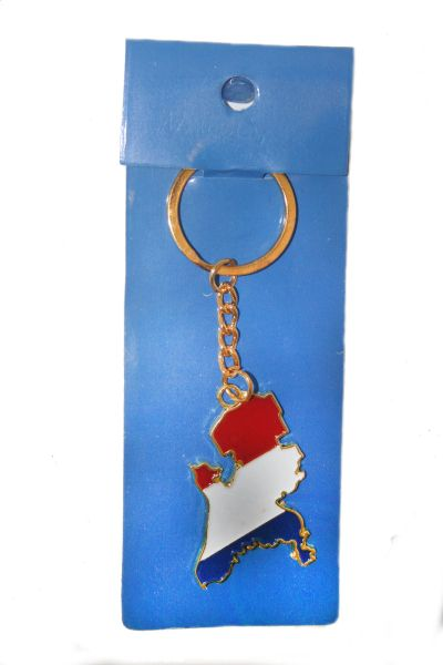 NETHERLANDS HOLLAND COUNTRY SHAPE FLAG METAL KEYCHAIN .. NEW AND IN A PACKAGE