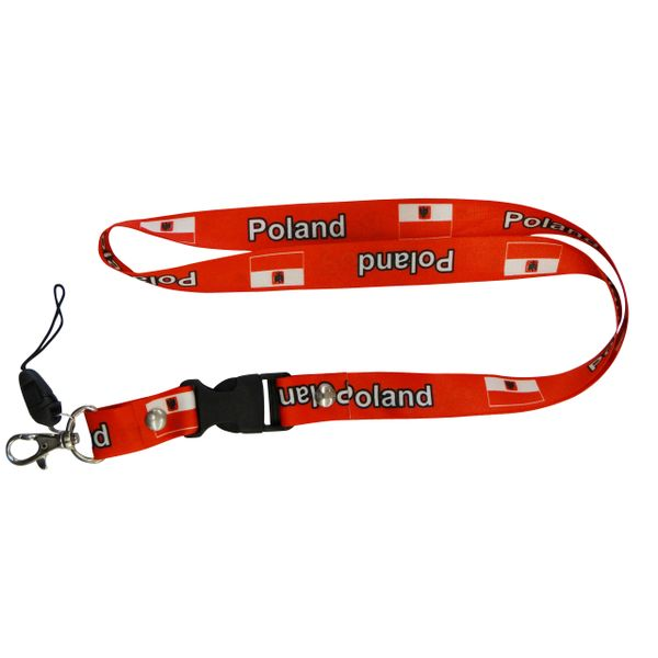 """POLAND COUNTRY FLAG LANYARD KEYCHAIN PASSHOLDER NECKSTRAP .. CLASP AT THE END .. 20"""" INCHES LONG .. HIGH QUALITY .. NEW"""