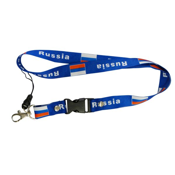 "RUSSIA COUNTRY FLAG LANYARD KEYCHAIN PASSHOLDER NECKSTRAP .. CLASP AT THE END .. 20"" INCHES LONG .. HIGH QUALITY .. NEW"